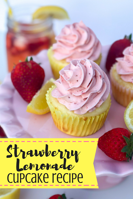 Strawberry Lemonade Cupcake Recipe. Lemon cupcakes with strawberry puree buttercream frosting. Beautiful summer dessert recipe