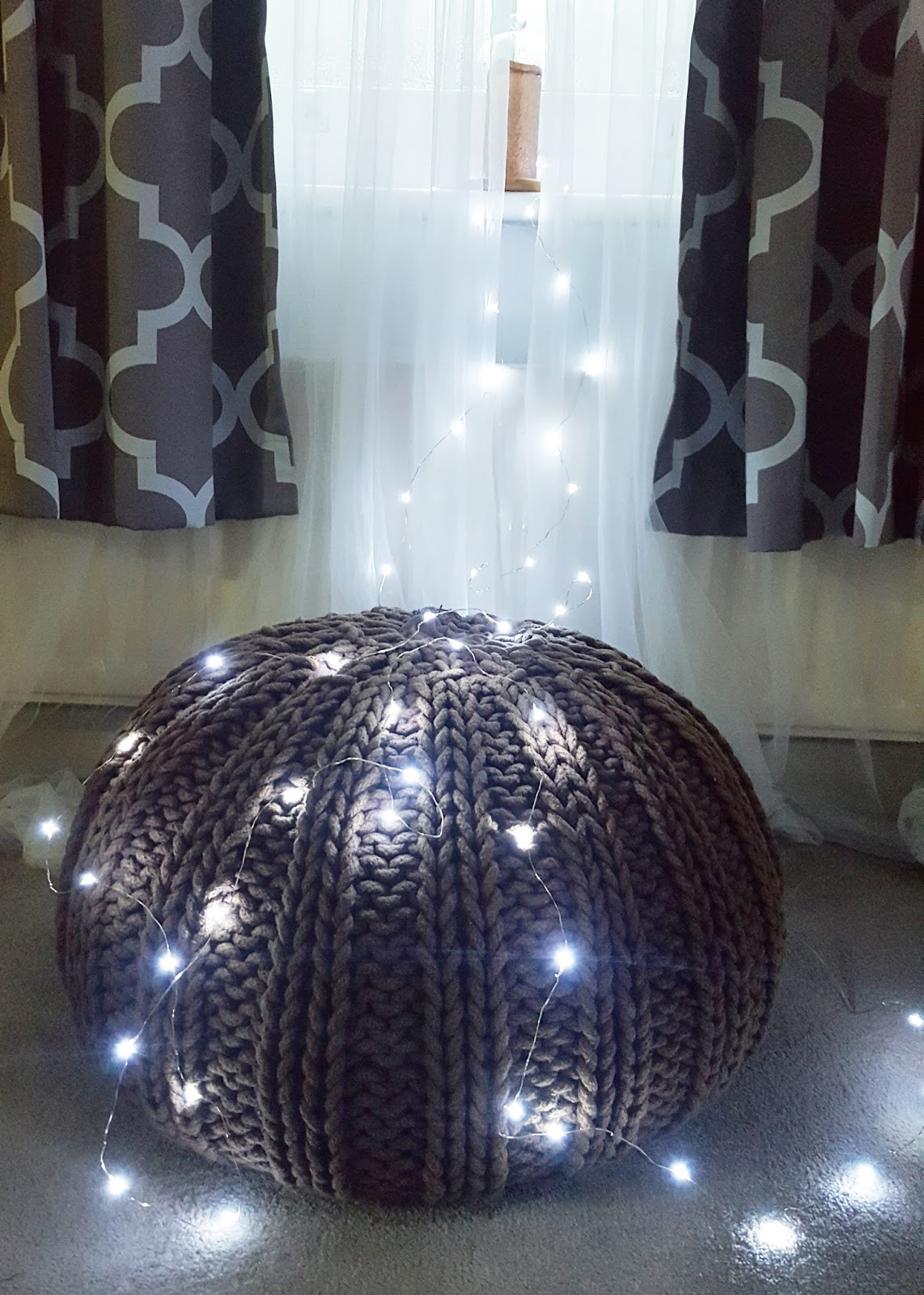 fairy lights on pouffe