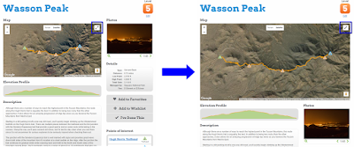 Wasson Peak hike profile map size toggle screenshot