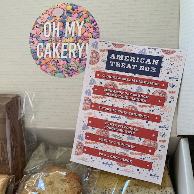 Flyer explaining American themed treats, including brownies and blondies