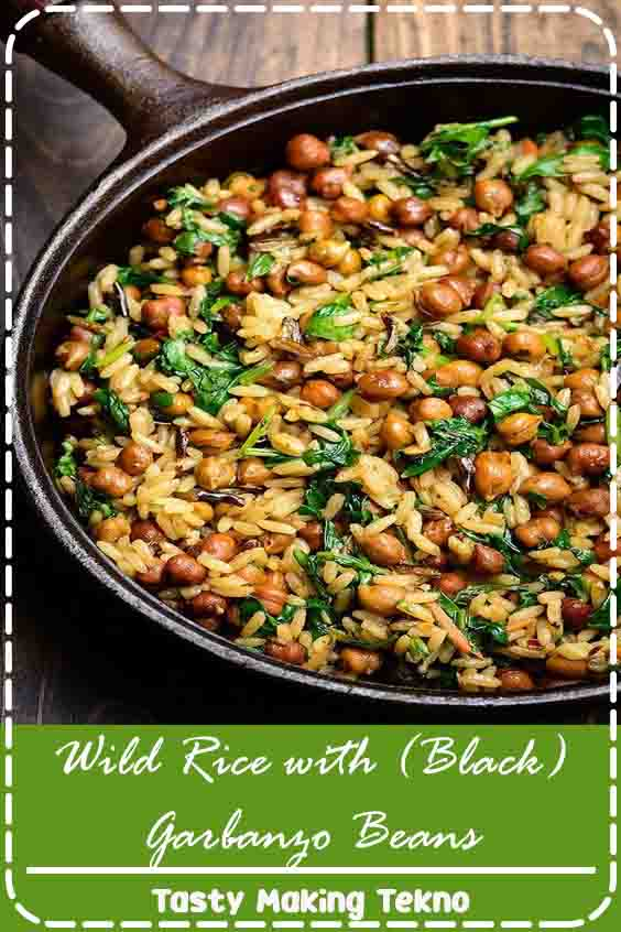 Here is some healthy, hearty, nutritious and elegant Wild Rice with (Black) Garbanzo Beans. This is such an easy and versatile dish. Meatless Mondays just got tastier.