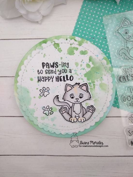 Paws-ing to send you a happy hello by Diane features Smitten Kittens and Circle Frames by Newton's Nook Designs; #newtonsnook, #inkypaws, #catcards, #cardmaking