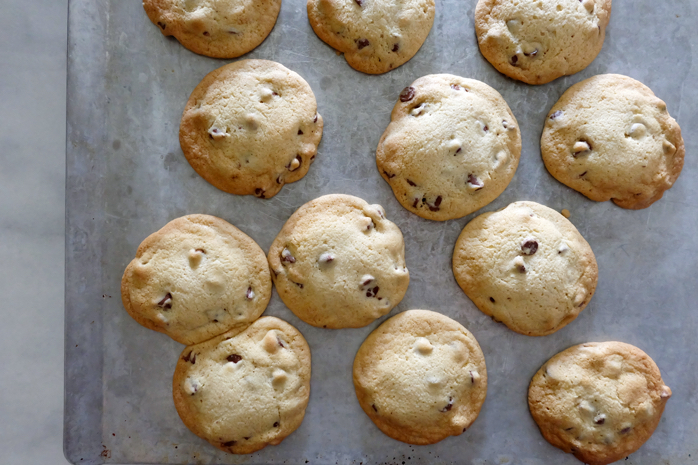 freshly baked chocolate chip cookies on insulated sheet
