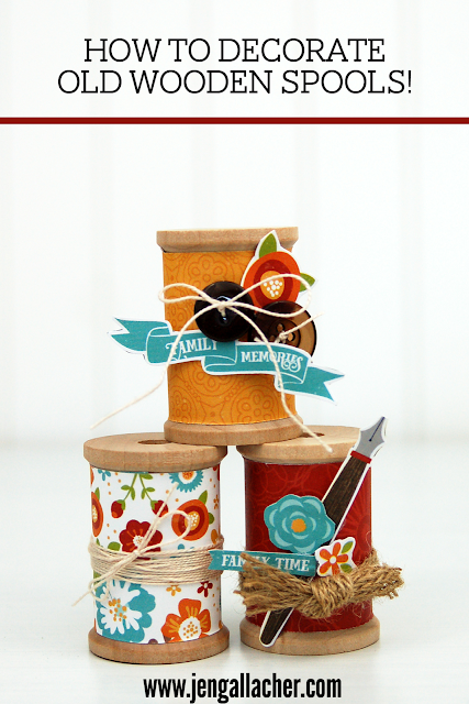 Decorate old wooden spools with scrapbooking paper with www.jengallacher.com. #papercrafting #autumncraft