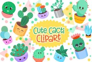 Cute Cacti Clipart 18 Vector Items