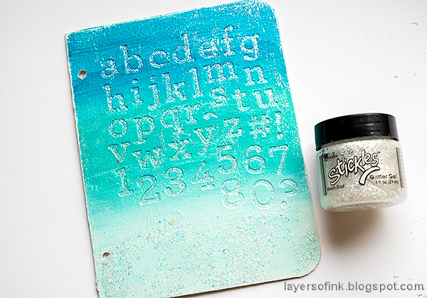 Layers of ink - Glittery Alphabet Notebook Tutorial by Anna-Karin Evaldsson. Apply Ranger Moon Dust Stickles.