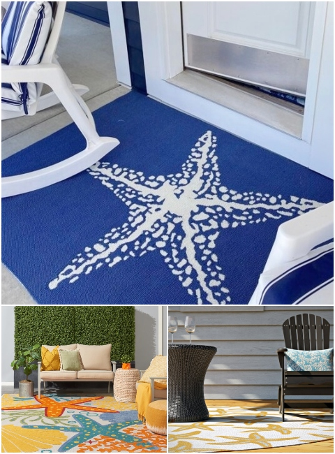 Colorful Outdoor Starfish Rugs