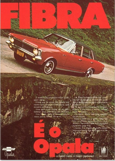 Propaganda do Opala (Chevrolet) no ano de 1970.