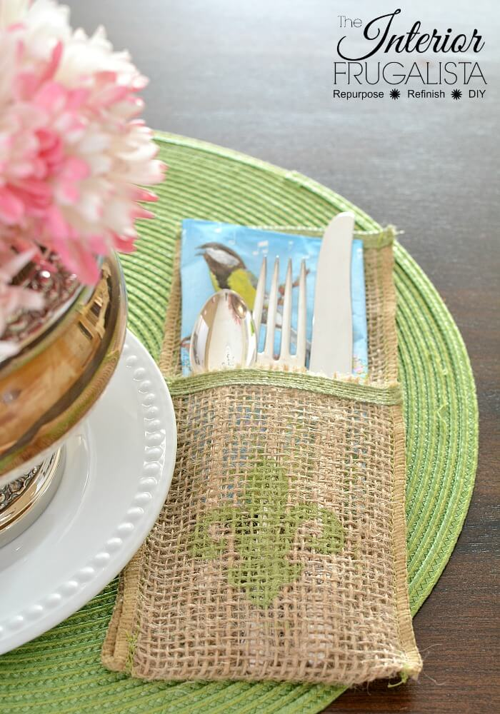 Spring Cutlery Holders With Burlap Ribbon