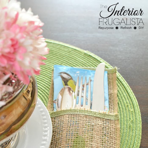 Burlap Ribbon Flatware Pockets For Spring