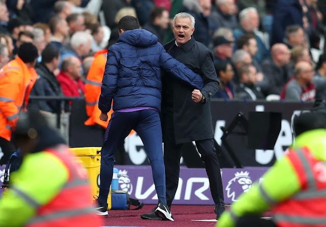 Jose Mourinho celebrates Tottenahm's first goal against West Ham