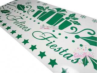 vinilos navidad, vinilos navideños, vinilos fiestas, trineos, regalos, estrellas, vidrieras navideña