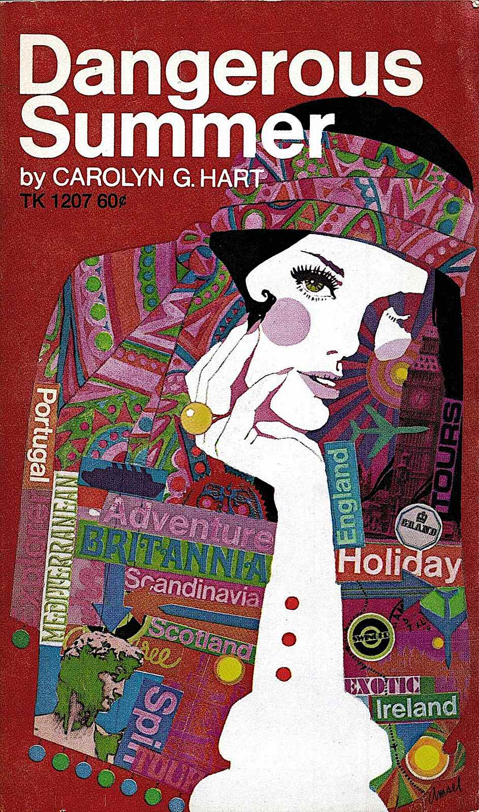 a Richard Amsel 1969 book cover illustration in purple for Dangerous Summer by Carolyn G. Hart