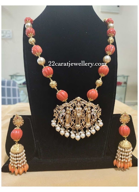 Red Coral Beads Pearls Set