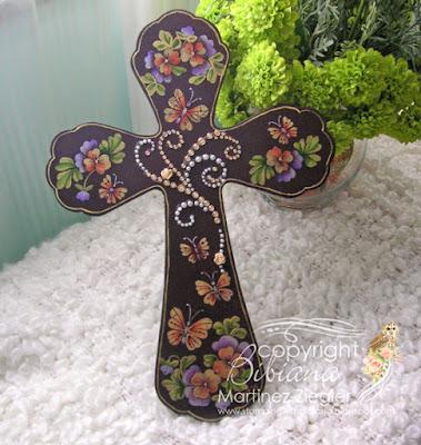 easter wood acrylic painted cross