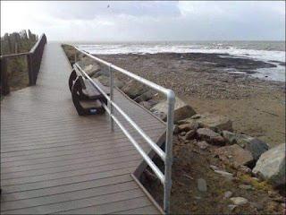 playa, banco, valla