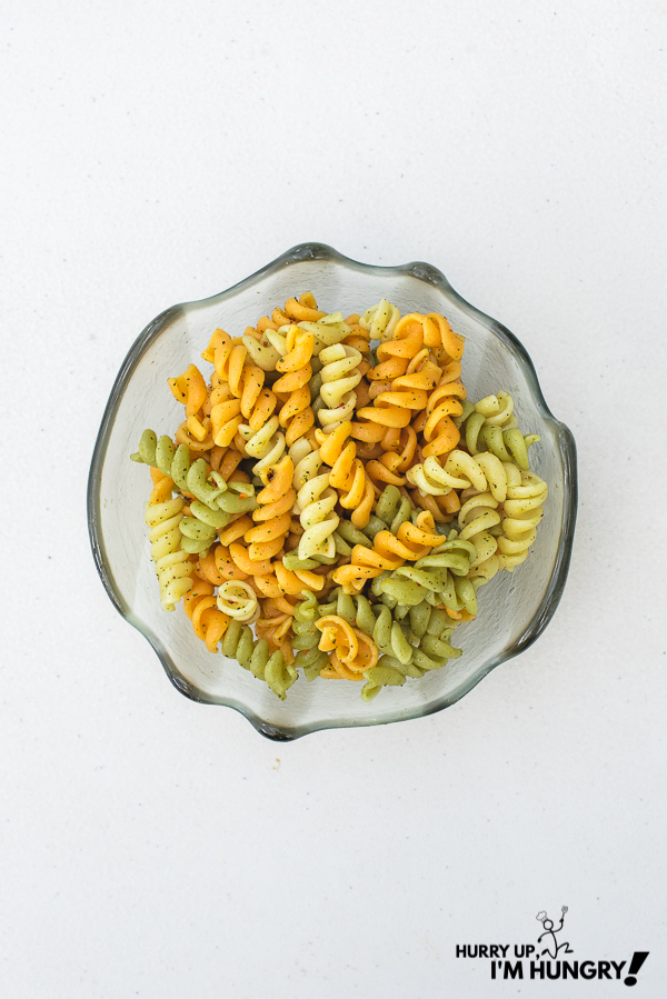 Rotini pasta bowls with italian spices and oil