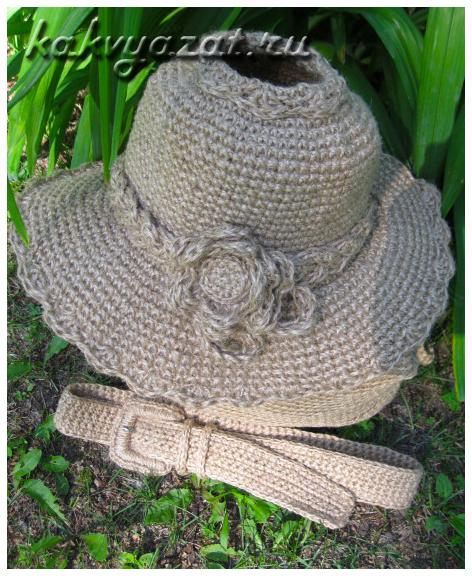 Пляжный комплект: шляпа и ремень из джута, связанные крючком.
