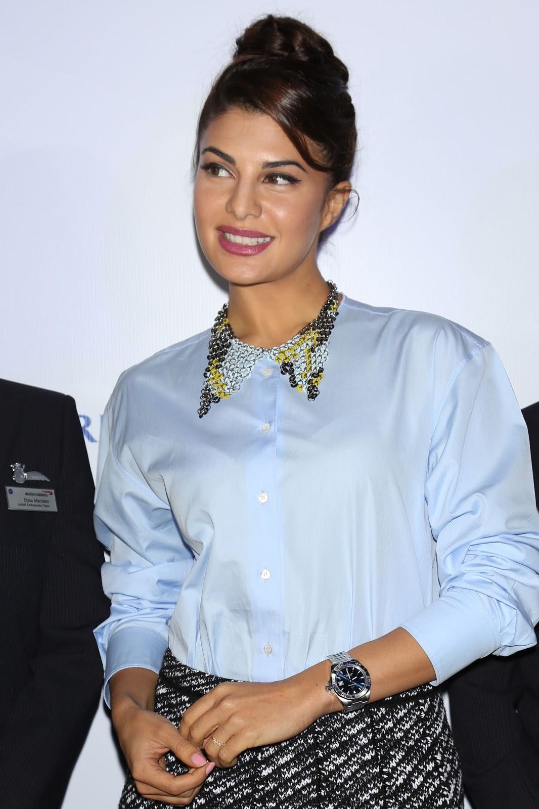 Jacqueline Fernandez Photos In Blue Shirt