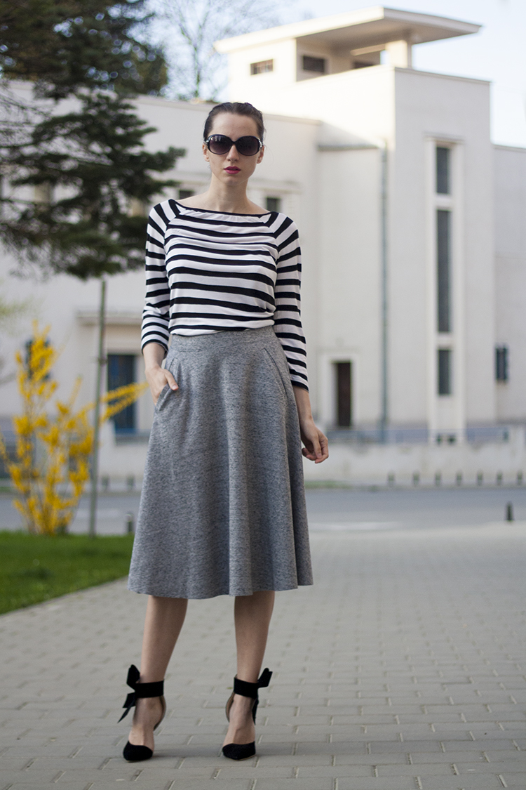 striped shirt full midi skirt boxer braids