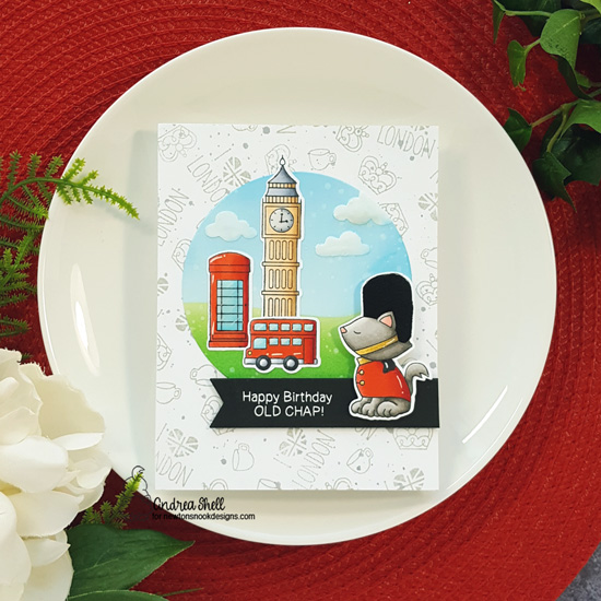 Happy Birthday Old Chap Card by Andrea Shell | Newton Dreams of London Stamp Set, Cloudy Sky Stencil, and Hills & Grass Stencil by Newton's Nook Designs #newtonsnook #handmade