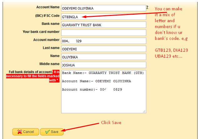 Bank Details Sample