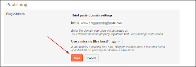 setup blogspot custom domain name