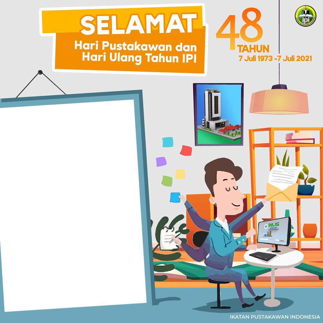 Desain Background Frame Bingkai Twibbon Hari Pustawakan 2021 dan Ulang Tahun Ikatan Pustakawan Indonesia (IPI) ke 48 Tahun - Twibbonize