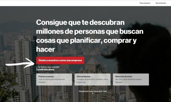 Como configurar la cuenta para empresas en Pinterest