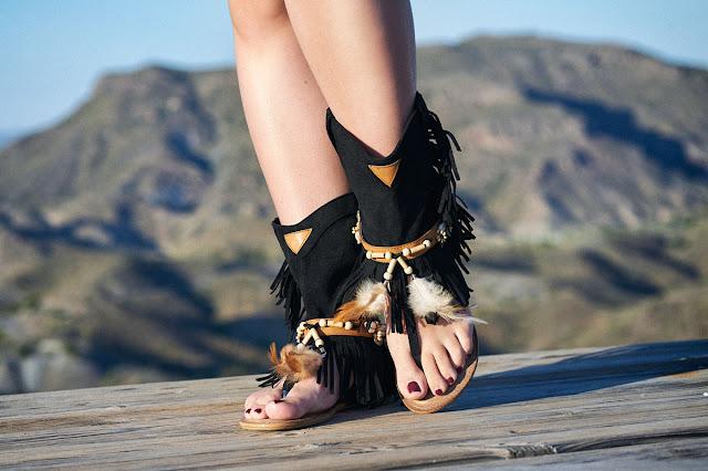 Sandalias boho negras baratas