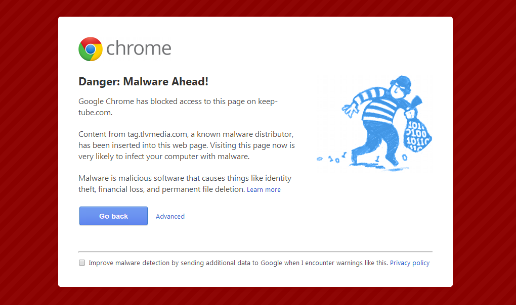 Google Chrome malware warning