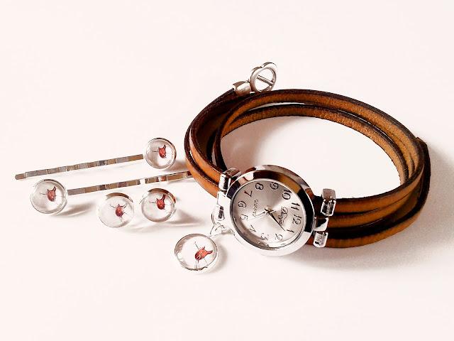 Biżuteria z koniem, wsuwki, kolczyki, zegarek