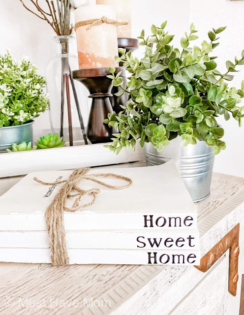 DIY book stack modern farmhouse style decor idea. Make it for under $3.00!