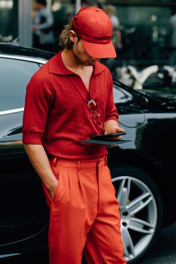 Look Masculino vermelho tendencia inverno 2018 moda masculina