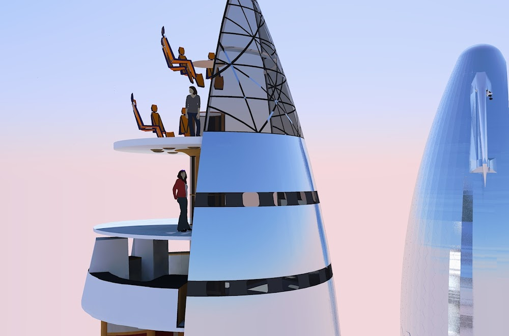 Speculative interior graphics of SpaceX Starship observation deck by Michel Lamontagne