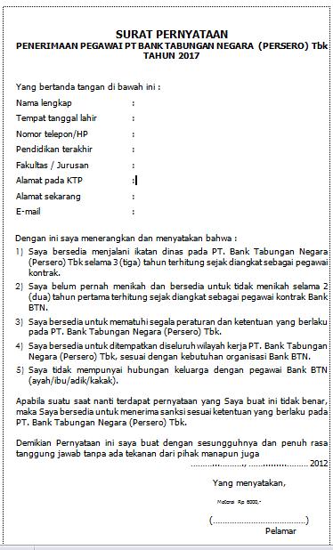 Contoh Surat Pernyataan Penerimaan Bank BTN