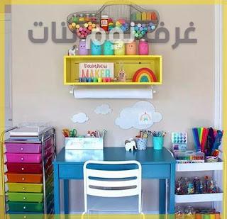 غرف نوم بنات مع تصاميم للمكتب من اجل الرسم