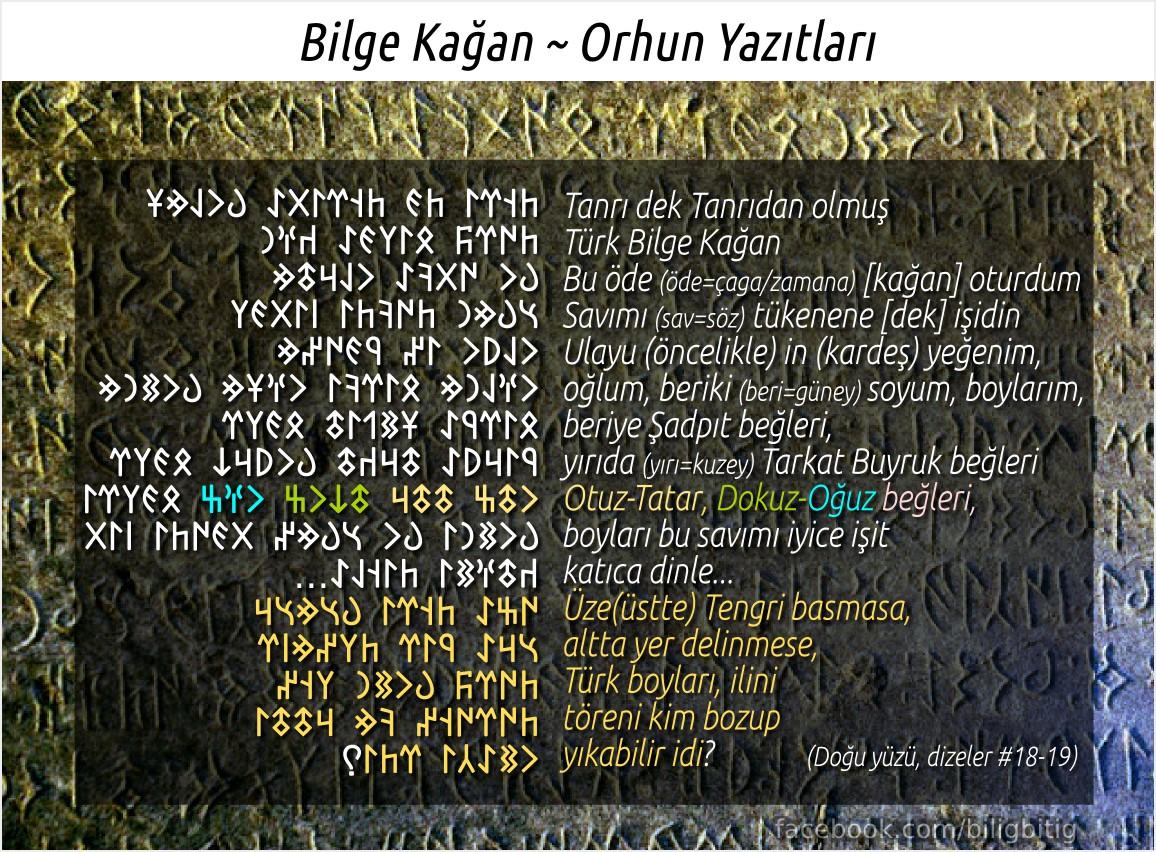 Orhun Yazıtları - Bilge Kağan'ın meşhur sözleri: Üstte gök çökmese, altta yer delinmese, Türk boyları, ilini töreni kim bozabilir idi?