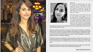 Disha Salian's family released a official statment on pregnancy and rumours after her suicide