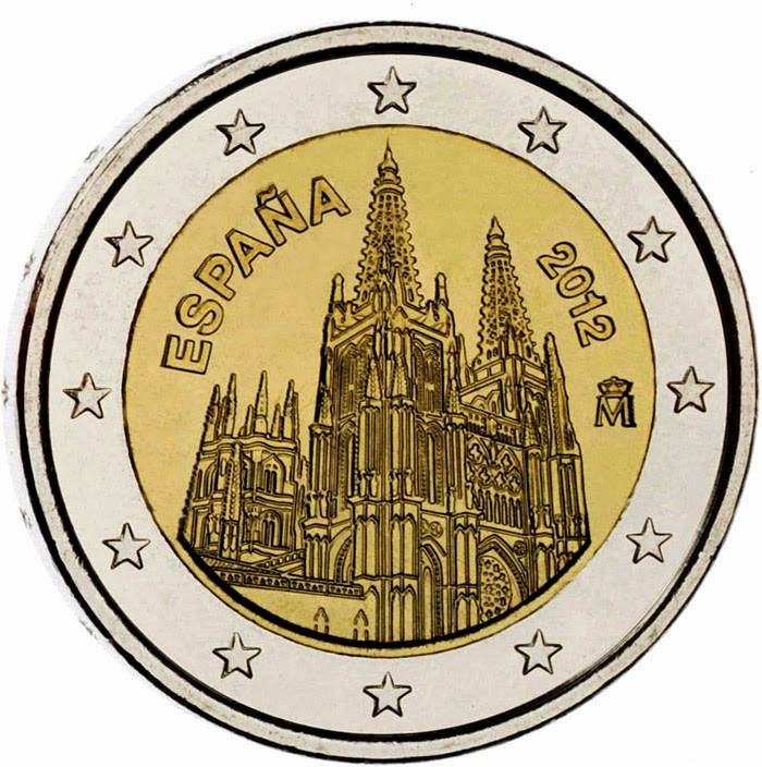 2 Euro Coins Spain 2012, Burgos Cathedral