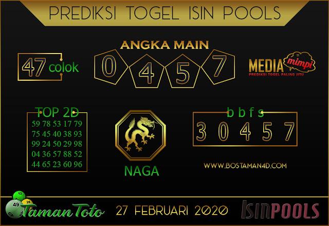 Prediksi Togel ISIN TAMAN TOTO 25 FEBRUARY 2020