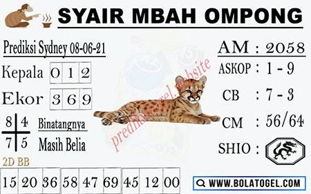 Syair Mbah Ompong Sdy Selasa 08 Juni 2021