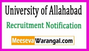 University of Allahabad Recruitment Notification 2017