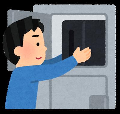 ロッカーに荷物をしまう人のイラスト(男性)