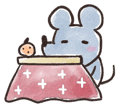 コタツでくつろぐネズミのイラスト(子年)