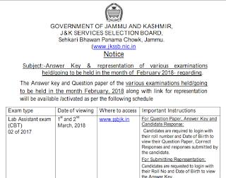 JKSSB Lab Assistant Answer Key 2018 & Solved Question Paper PDF