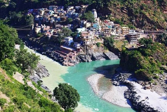 The confluence of the rivers Alaknanda and Bhagirathi in the Indian city of Devaprayag