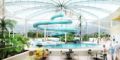 Perspective 3d piscine concours hall toboggan bassin