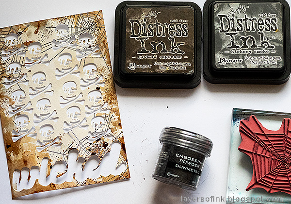 Layers of ink - Dimensional Stamped Skull Tutorial by Anna-Karin Evaldsson.