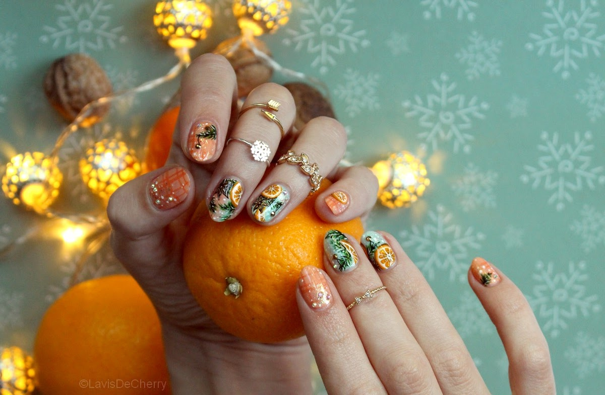 nail-art-noel-orange-anis-pastel-dégradé-sapin
